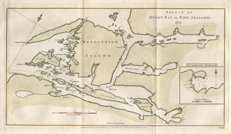 Map of Dusky Bay by James Cook