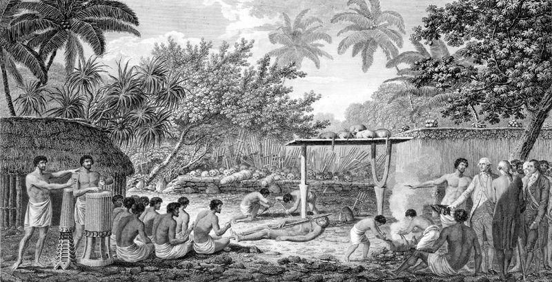 James Cook Witnessing Human Sacrifice In Tahiti